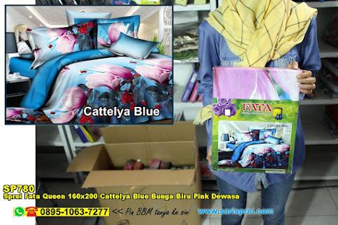 Sprei Fata Queen 160x200 Cattelya Blue Bunga Biru Pink Dewasa