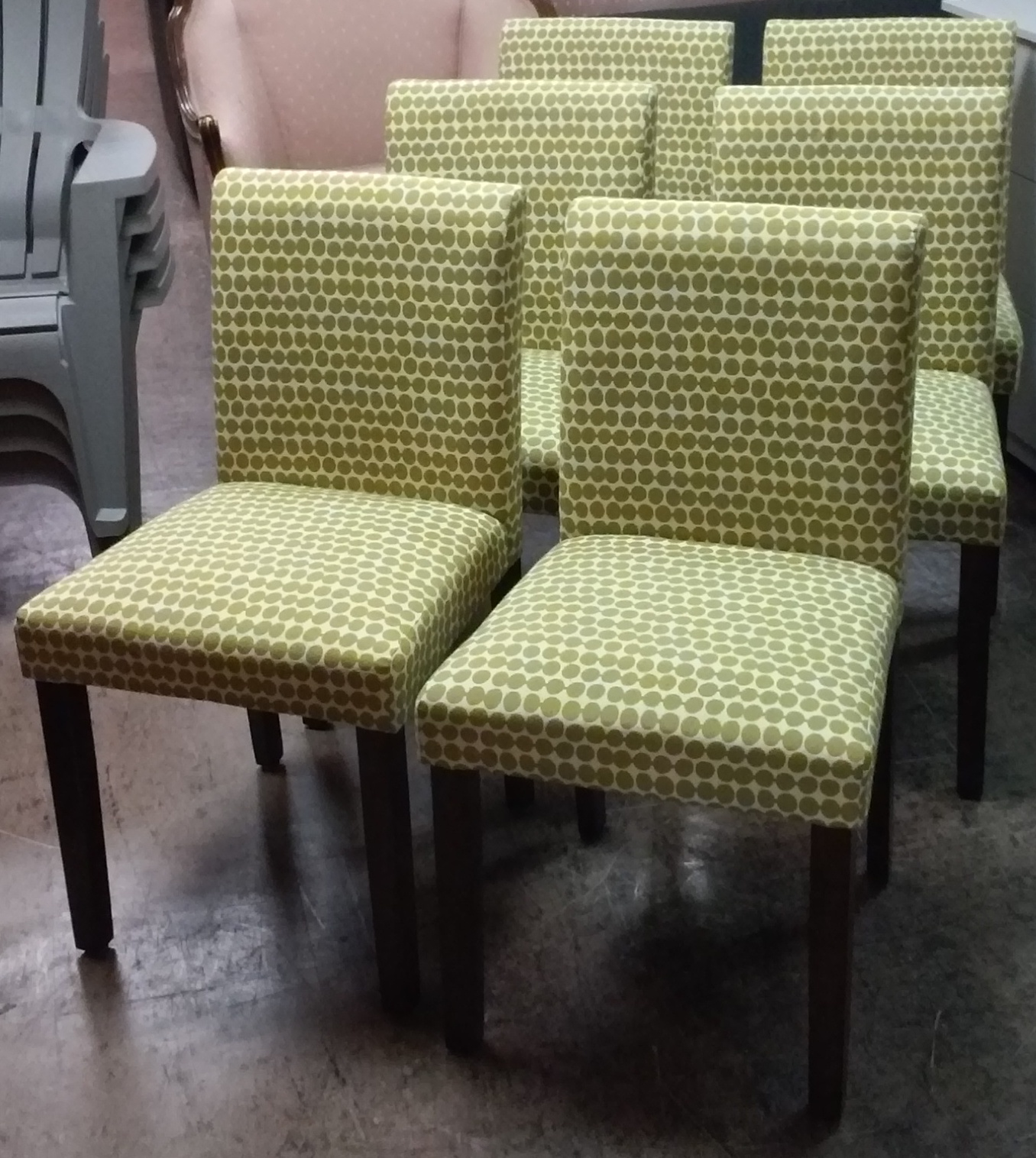 Green Upholstered Dining Chairs Bedroom Chair Set Uhuru Furniture And Collectibles Sold Of 6 Modern