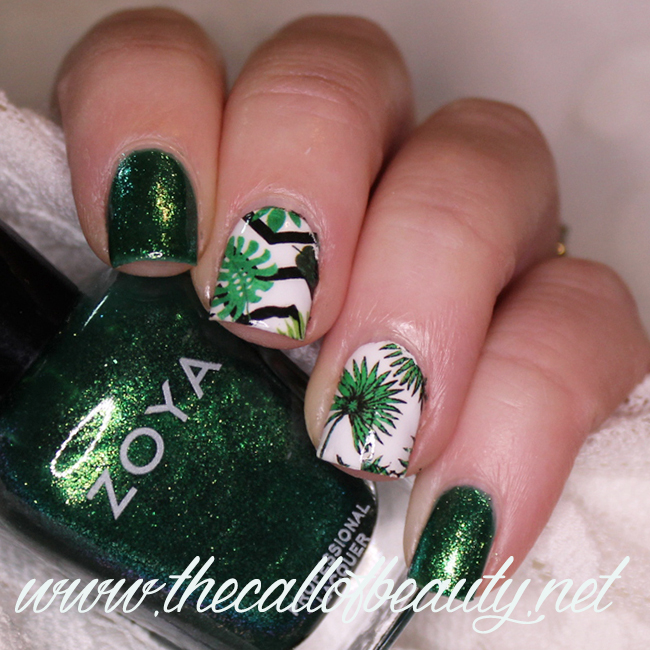 Nail Art: Shades of Jungle Green
