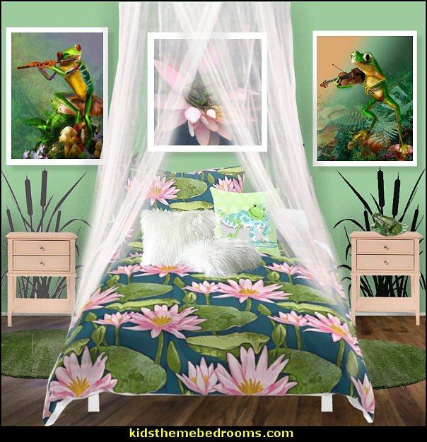 frog bedding frog pond wall decals frog wall art frog pillows frog theme bedrooms - frog bedroom decor - frog theme decor - frog bedding - frog themed gifts - froggy wallpaper frog murals - frog wall decals - frogs in a pond wall decor -  Frog Prince decor - pond theme decals - frog duvet set - decorating frog theme - frog theme for baby nursery - frog pond baby nursery - frog pond playroom furniture