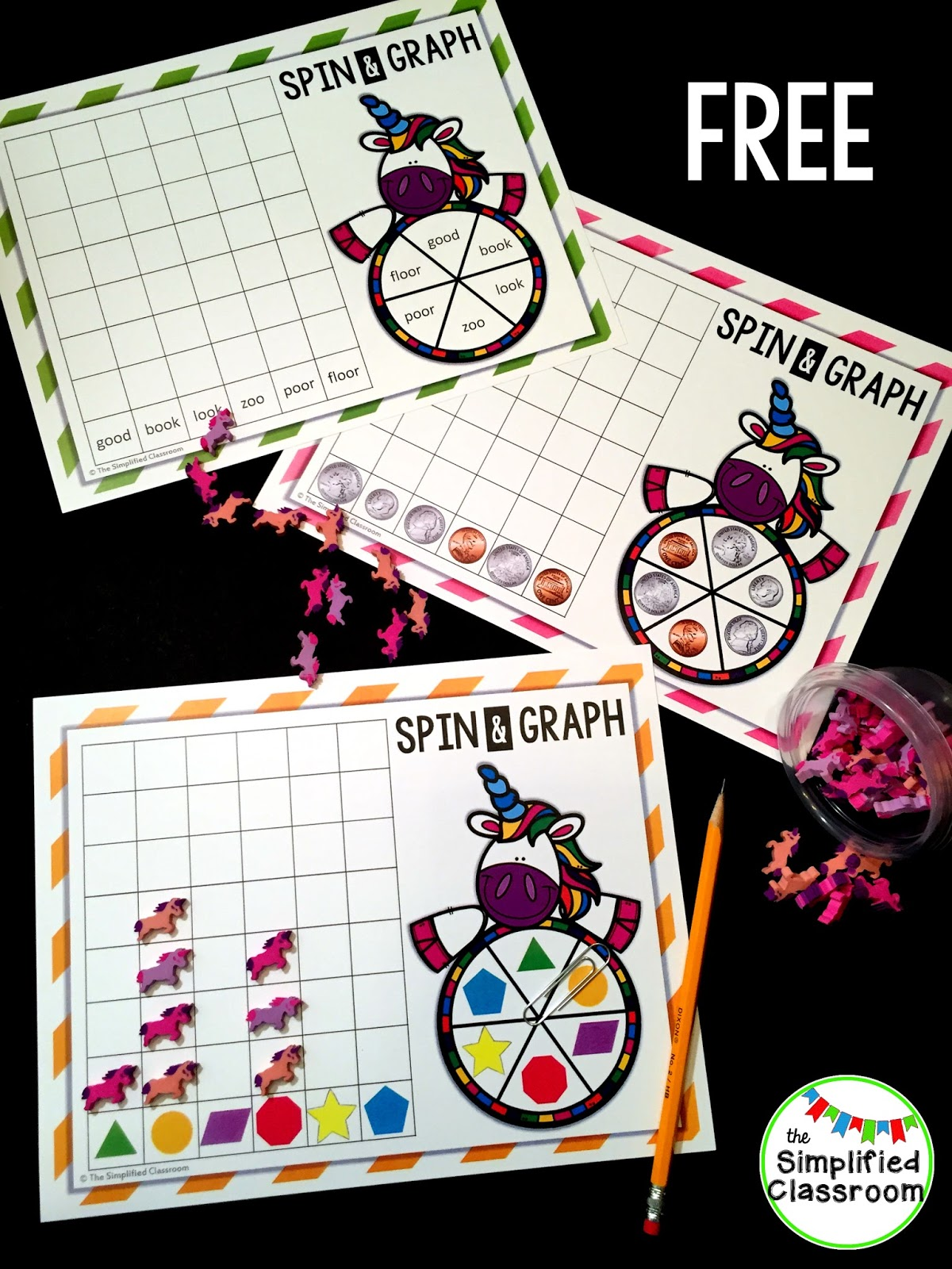 The Simplified Classroom Unicorn Spin And Graph Freebie