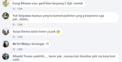 Komentar2 di FB tentang akun AdSense dibanned