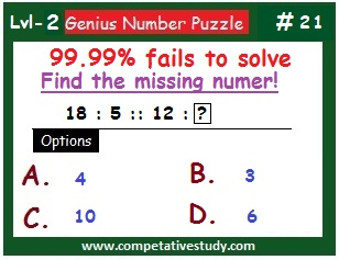 Number Puzzle: Find the missing number: 18 : 5 :: 12 : ?
