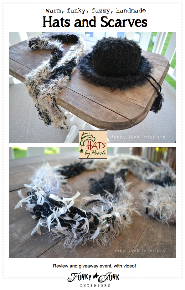 Warm, fuzzy, funky, handmade Hats by Peach! A review and giveaway with video via Funky Junk Interiors