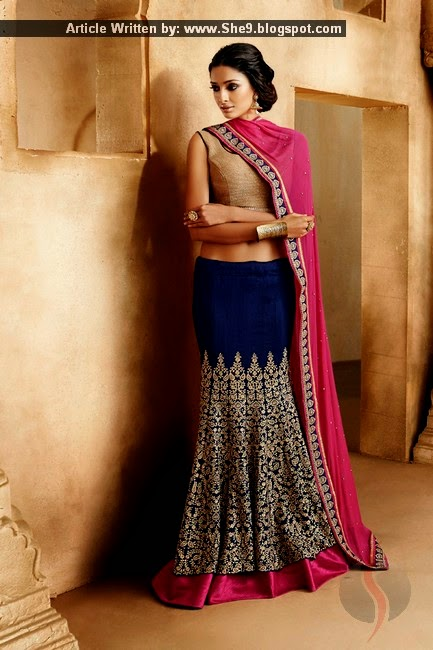 New Picture Collection of Fish Style Saree-Lehnga