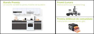 Castiga mobilier pentru bucatarie + electrocasnice sau vouchere eMag