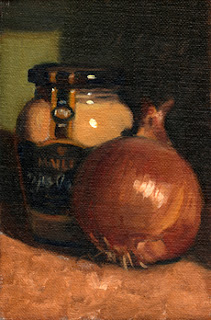 Oil painting of a brown onion beside a Maille Dijon mustard jar.