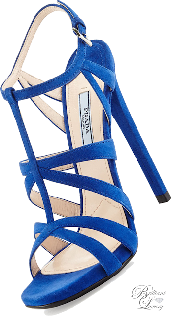 Brilliant Luxury ♦ Prada Suede Crisscross Suede Sandal