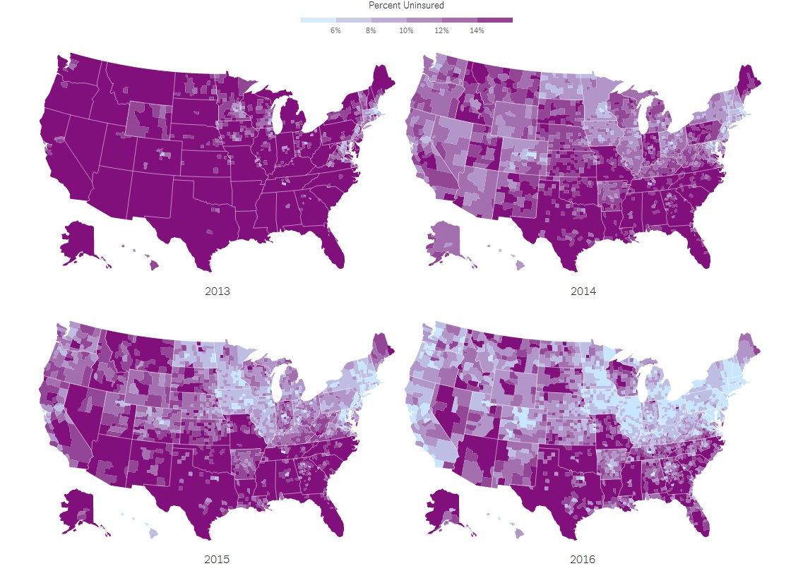 The share of people without health insurance in the United States
