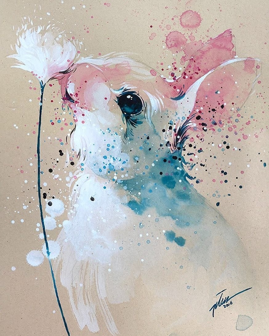 02-Bunny-Rabbit-Tilen-Ti-Paintings-of-Animals-with-Splashes-of-Paint-www-designstack-co