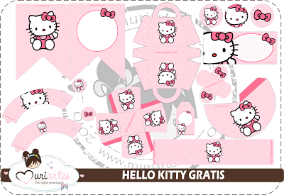 Delicado Kit de Hello Kitty para Imprimir Gratis.