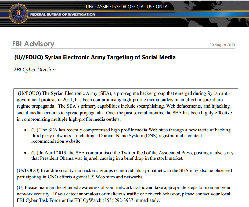 FBI Cyber Division put 'Syrian Electronic Army' Hackers in wanted