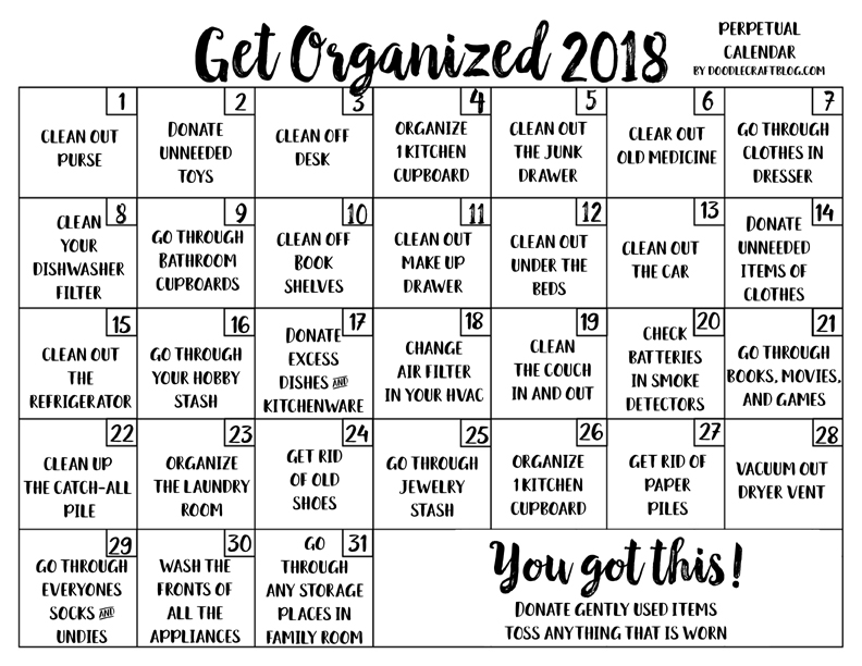 Doodlecraft Get Organized Perpetual Calendar Checklist Free Printable!
