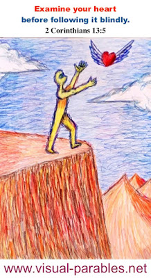 a person following their flying heart right over a cliff.