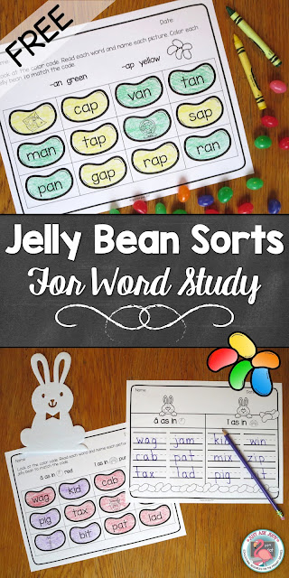 There are six letter-name and within-word stage spelling sorts for kindergarten, first, and second grades in this free download!