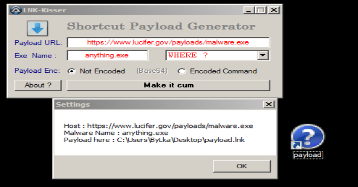 LNK-KISSER : AutoIt HackTool, Shortcuts.lnk Payloads Generator