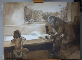 Serbian Farmer monochrome painting work-in-progress