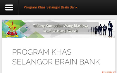 Permohonan Program Khas Selangor Brain Bank 2018 Online