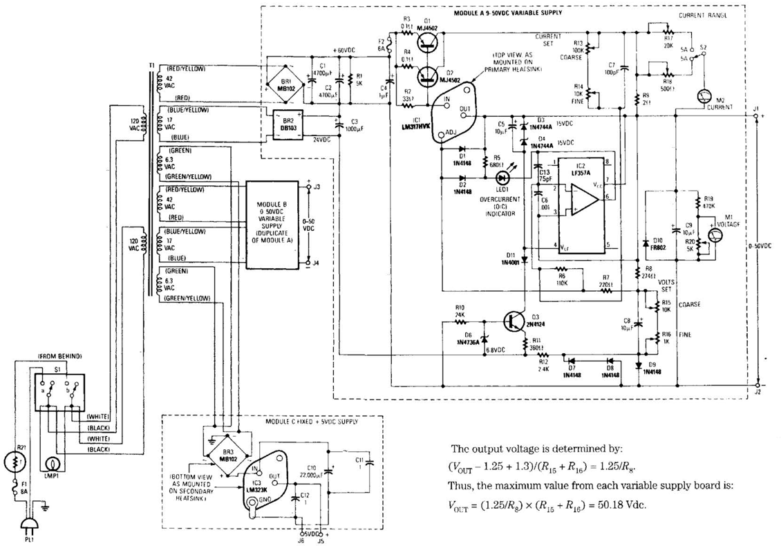 Simple universal laboratory power supply circuit diagram