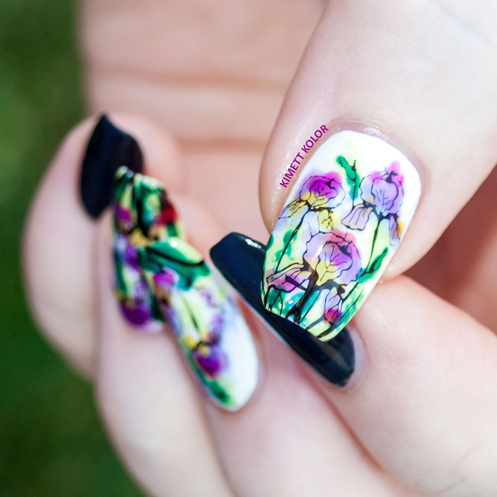 Watercolor Iris Stamping Nail Art Kimett Kolor