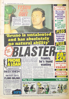 Back cover page of the Sunday Sport newspaper from Oct 1987