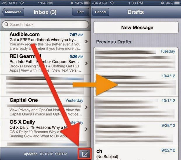 melihat email draft di iphone