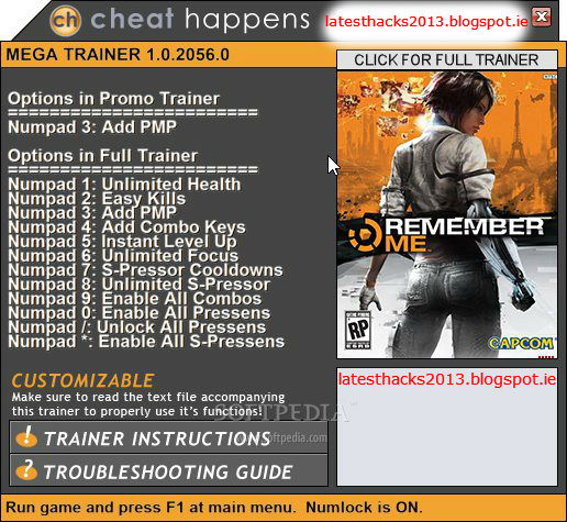 Your hacks are here !: Remember Me Trainer Hack [Xbox 360