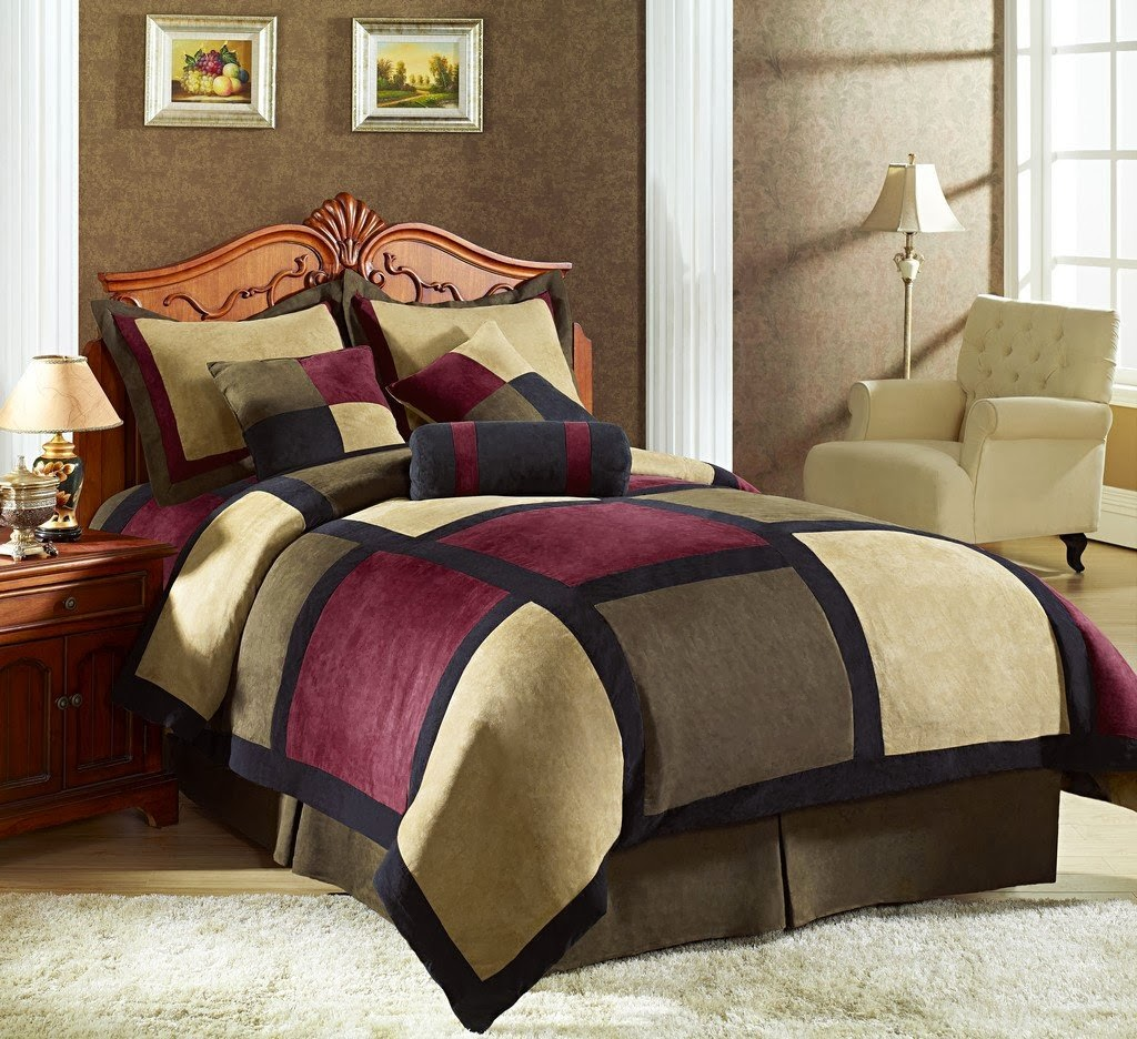 Brown and red bedding - Chezmoi Collection Micro Suede Patchwork 7 Piece Comforter Set Queen Brown Burgundy