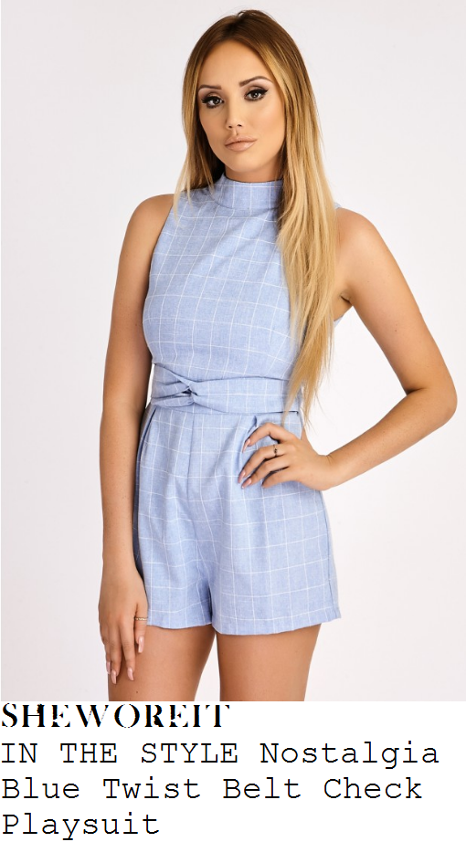 charlotte-crosby-in-the-style-nostalgia-pale-baby-blue-and-white-grid-check-print-sleeveless-high-neck-twisted-belt-detail-tailored-playsuit