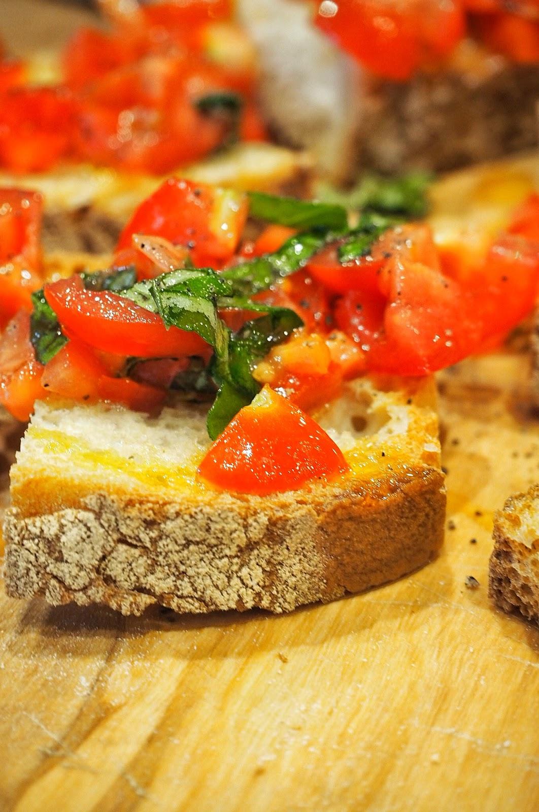 Italian antipasti tomato bruschetta