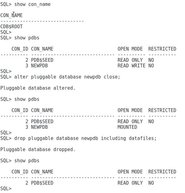 Create Connect Unplug Plug Drop Clone View Datafiles - PDBs Oracle 12c
