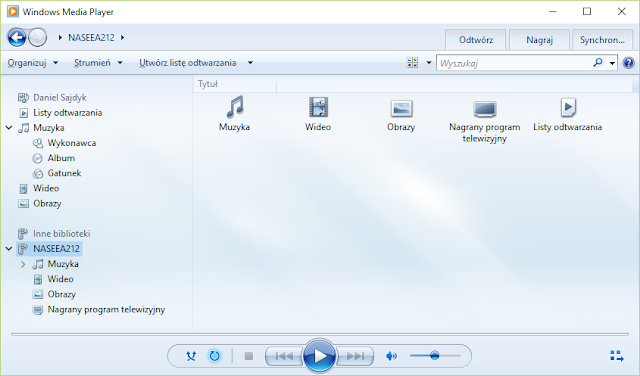 QNAP TS-251+ widoczny w Windows Media Player