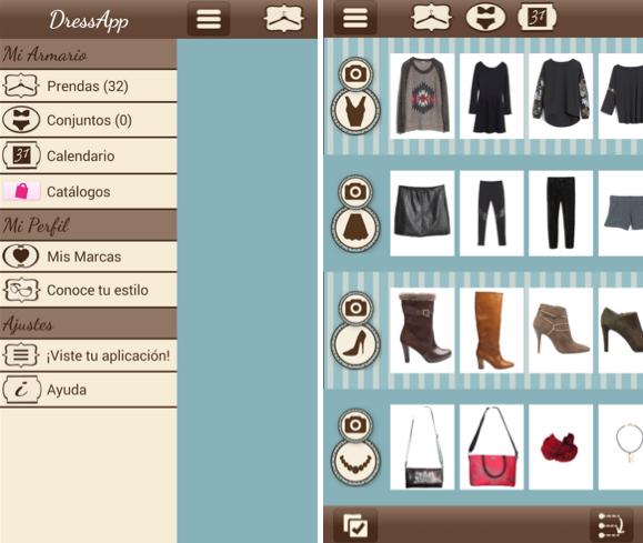 dress app menu y prendas