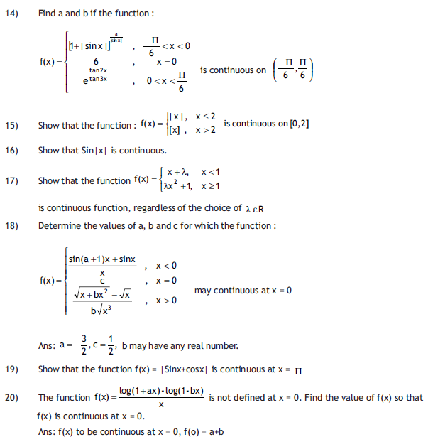 Important questions for Continuity and differentiability,maths for class 12,