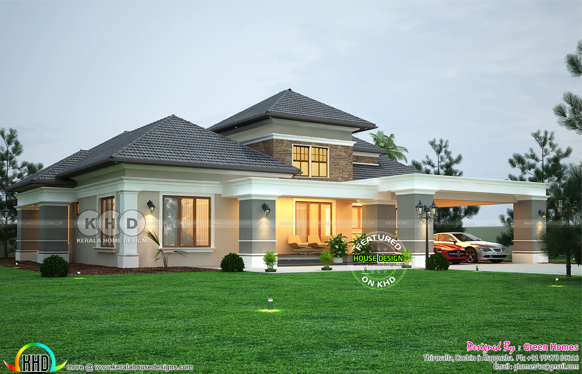 Elegant Sloping Roof Bungalow Design 2990 Sq Ft Kerala Home Design And Floor Plans 8000 Houses