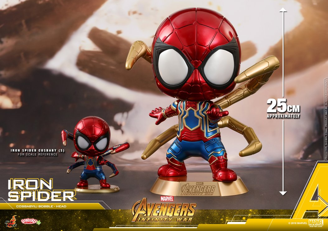 Hot Toys Avengers Infinity War Iron Spider Man Cosbaby Key Chain New