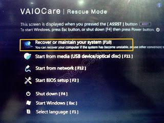Recovery Sony VAIO