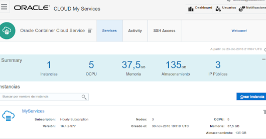 First touch with Oracle Container Cloud Service