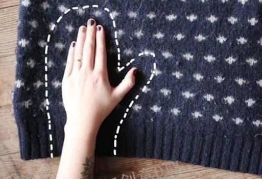 Membuat sarung tangan dari switter bekas