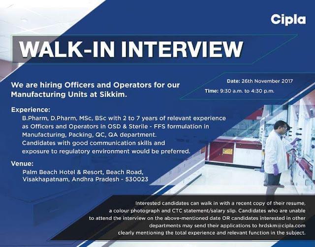 Walk in for CIPLA on 26 Nov 2017