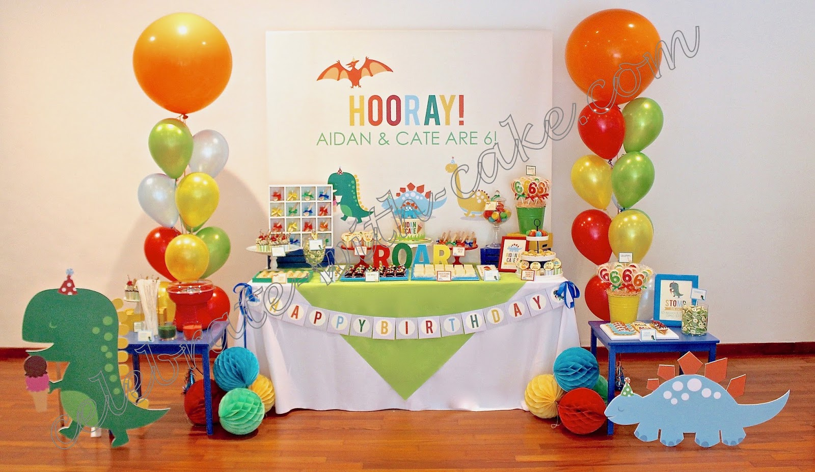 Celebrate with cake cute dinosaur themed dessert table for Anpanman cake decoration