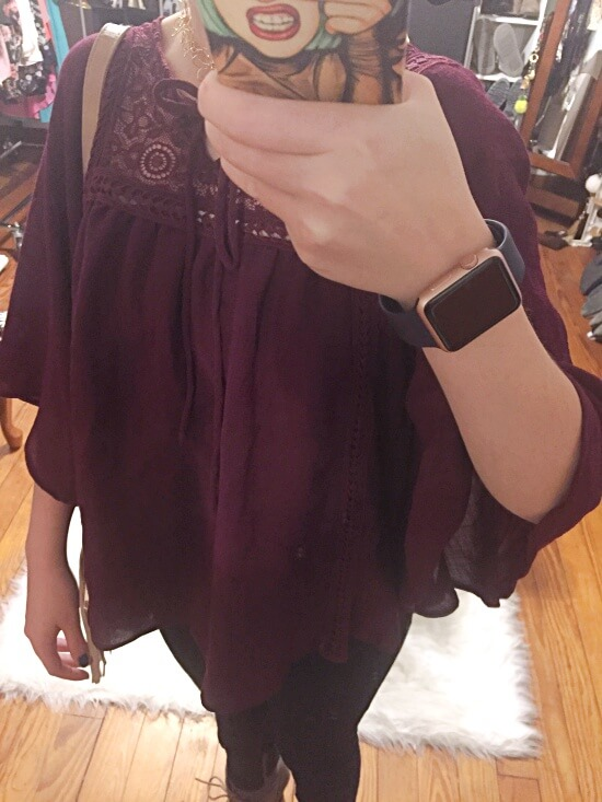 burgundy circle top outfit of the day
