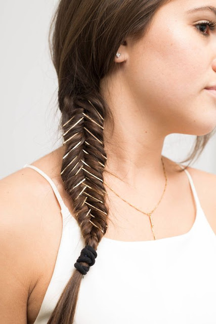 Spice Up Your Normal Fishtail Braid By Adding Bobby Pins Into The Braid  After Braiding Is Done. For Maximum Impact Use Pins In Contrasting Colour  Of Your ...