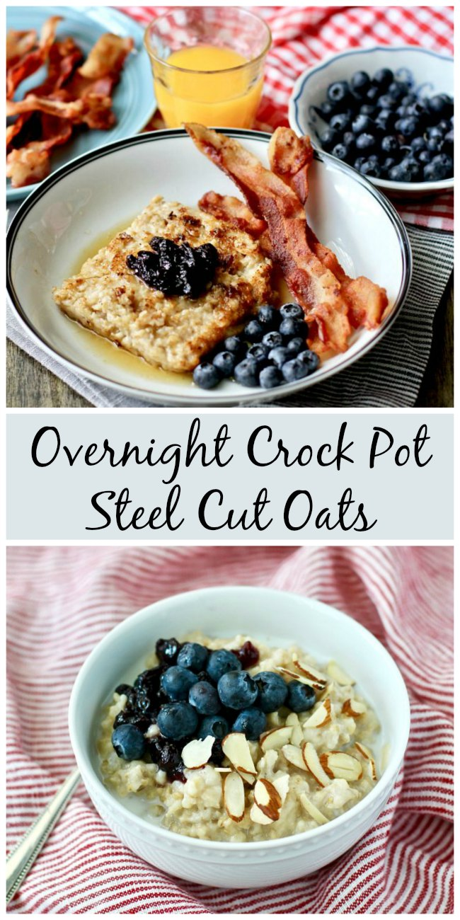 Overnight Crock Pot Steel Cut Oats #oatmeal #overnightoats #crockpot #breakfast