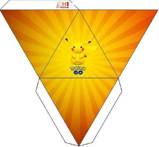 Caja con forma de pirámide de Pikachu.