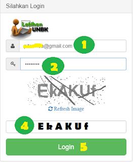 gambar login latihan unbk online cbt.smppgrisatubdl.com
