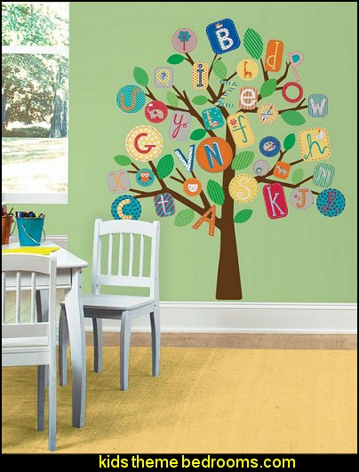 Primary Tree Peel and Stick Giant Wall Decals  playrooms alphabet numbers decorating ideas - educational fun learning letters & numbers decor - abc 123 theme bedroom ideas - Alphabet room decor - Numbers room decor - Creative playrooms educational children bedrooms - Alphabet Nursery - Alphabet Wall Letters - primary color bedroom ideas - boys costumes - girls costumes pretend play - fun playroom furniture
