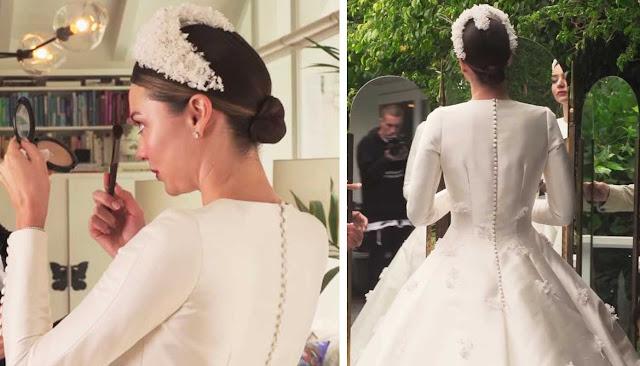Miranda Kerr vestido de noiva detalhes