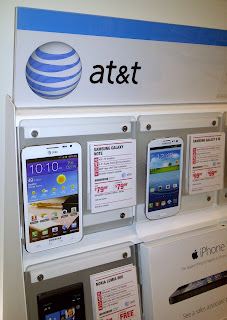 AT&T cell phones in store display