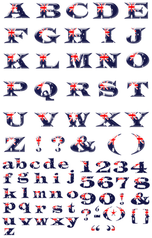 Quality Graphic Resources Australian Flag Alphabet And